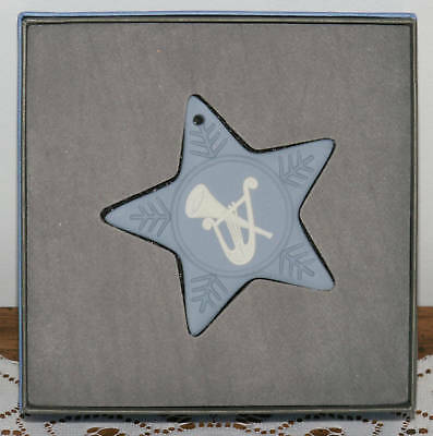 Nib Wedgwood Blue/wht Star Musical Instrument Ornament