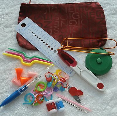 KNITTING TOOLS KIT - DELUXE LARGER SATIN BAG - YOU CHOOSE COLOUR - 42 pieces