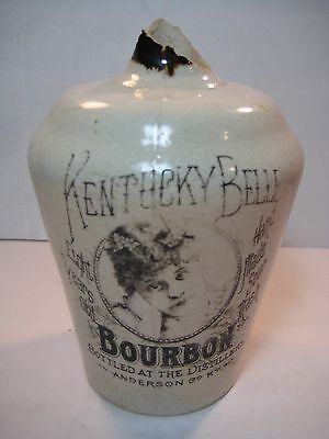 RARE Antique Kentucky Belle Bourbon Whiskey Crock Jug-Anderson Cty.-R.S. Strader