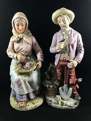 Vintage Homco Figurines Old Farmer and Farmer's Wife Holding Shovel and Basket