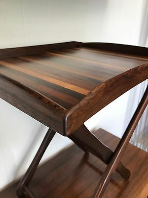 Don Shoemaker Rosewood/Mixed Woods Mid Century Modern Tray & Rare Folding Stand