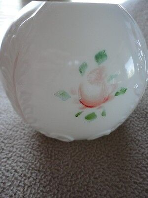Consolidated Con Cora Milk Glass Rose Bowl Embossed Hand Painted Roses Vintage