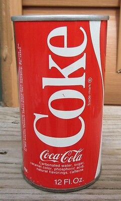 Vintage Early 1970's Straight Steel Coca-Cola Coke Pull Tab Soda Can Top Open