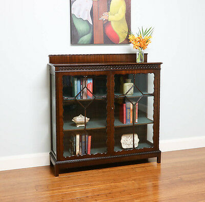 Antique Vintage Carved Glass Display Cabinet / Bookcase – Mahogany