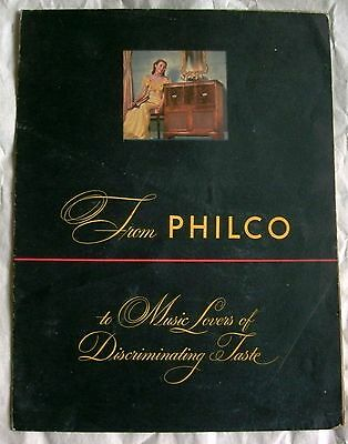 Philco Radio Phonograph 1948 foldout brochure poster Chippendale Regency models
