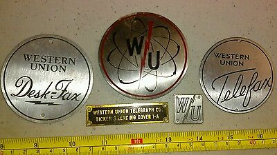 Vintage Western Union Advertising Metal Emblems Lot Telegraph Rare