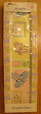 New Mirabella Growth Chart, Girls, Pastels, Butterflys, Dragonflys, Ladybugs