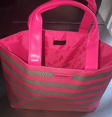 Lancome Pink Gray Striped Tote Bag Shopper Beach Travel Handbag New