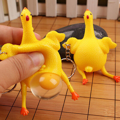 Funny Hen Chicken Laying Egg Squeezing Stress Relief Keyring Keychain Prank Toy
