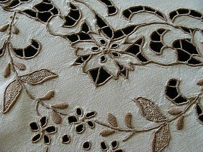 "AMAZING Vtg MADEIRA Linen Tablecloth 41"" Elaborate Cutwork Hand Embroidered"