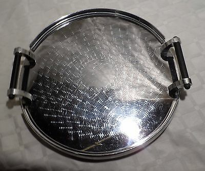 Vintage Round Silver Serving Tray With Bakelite Handles Wiles Australian Made