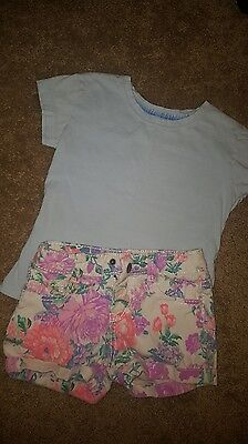 S 4-5 size outfit FLORAL SHORTS, BABY BLUE TOP