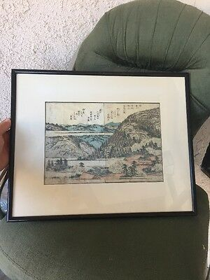 Very Old Primitive Antique Japanese Woodblock Print Framed Landscape 2 Pg Wow!