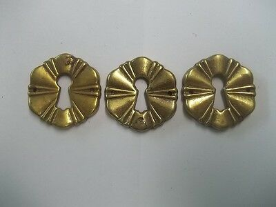 Vintage Lot Of 3 Brass Keyhole Furniture Accessory Piece 1 1/4""
