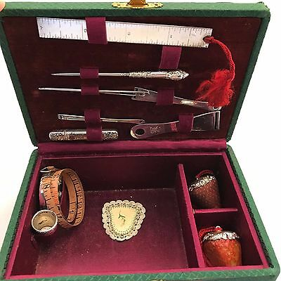 Foster & Bailey Sterling Bodkin,Thimble, Tape Measure, Ruler, Cushions, Pin Case