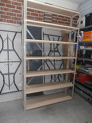 steel shelving-industrial quality-dexion!-ex/cond!-tidy your garage in style!