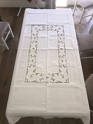 Vintage Exquisite Cream Linen Embroidered & Cutwork Lace Tablecloth 218x160cm