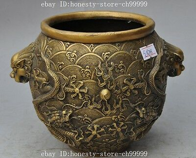 china pure bronze foo dog head dragon play bead statue Tank Crock jar pot bottle