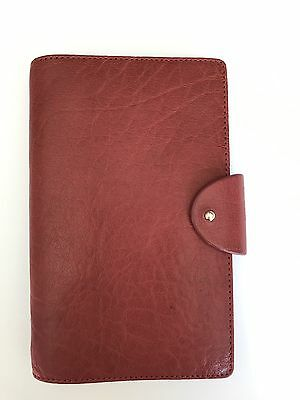 Filofax Personal Compact Charleston in RED Leather 6 Ring Organizer- New