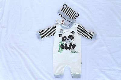 Fisher-Price Panda Romper One Piece + Beanie New Neborn Baby Girl Boy Size 000