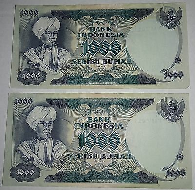 Lot Of 2 Bank Indonesia 1000 Rupiah 1975 Sequential Currency Money Bank Notes Vg