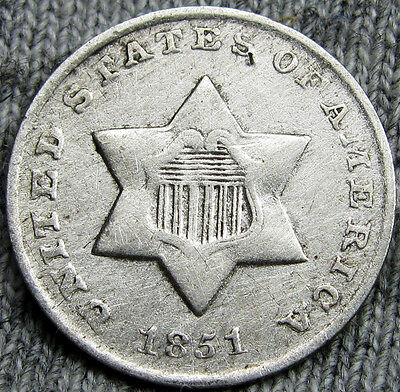 1851-O Silver Three Cent Piece 3cp  --- RARE, CLEANED --- #D754