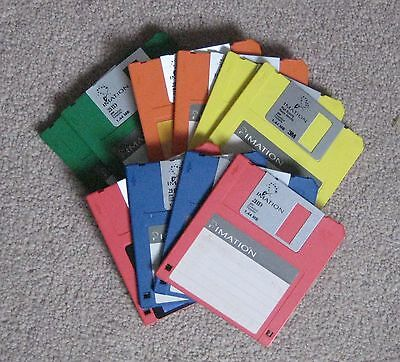 """10 Imation Formatted Floppy Computer Disks 3.5"""" 2HD - Mixed Colour (PC)"""