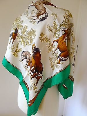 GRAND FOULARD Pure Soie CHEVAUX Equitation equestre PARFAIT French Horse SCARF