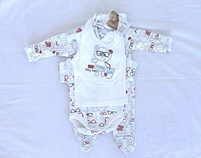 Baby Boy Girl Little Bear Romper Newborn Singlet Bib Set Brand New Size 0000