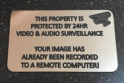 Engraved Security Warning Sign - Silver / Black Audio Video Surveillance 24 Hr