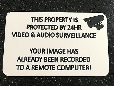 Engraved Security Warning Sign - White / Black Audio Video Surveillance 24 Hr