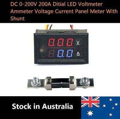 DC 0-200V 200A Digital LED Voltmeter Ammete Voltage Current Panel Meter W/ Shunt