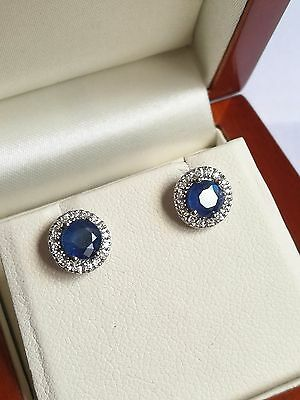 9ct White Gold, Sapphire and Diamond Round Stud Earrings.
