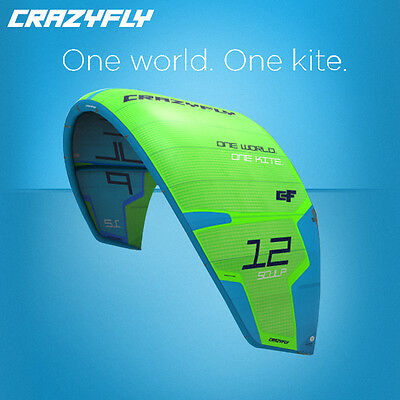 Brand New 2017 CrazyFly Sculp Green 10M Kites with Sick Bars Kitesurfing