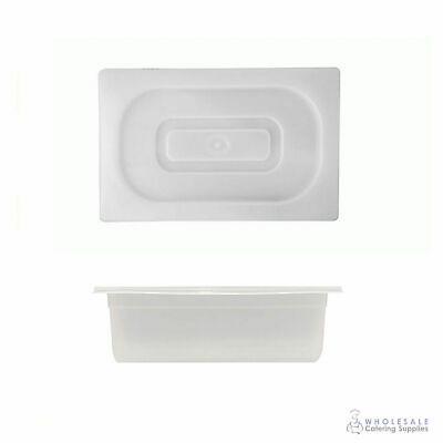 12x Food Pan with Clear Lid 1/4 GN Size 100mm Deep Polypropylene Gastronorm
