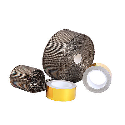 """Titanium Pipe Wrap Exhaust Turbo Heat Manifold Header 2""""x50' Roll With cool tape"""