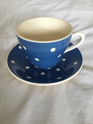 Sandygate Pottery Blue & White Spotted Cup and Saucer .