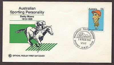 1981 Australian Sporting Personality DARBY MUNRO Horseracing WCS FDC
