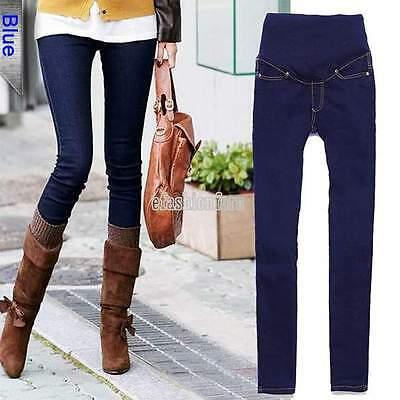 Pregnant Women Denim Skinny Pants Adjustable Elastic Maternity Jeans Trousers YU