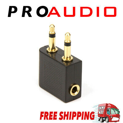 Airplane Airline Headphone Gold Plated Adapter For Audio Jack 2 Plug Air Plane C