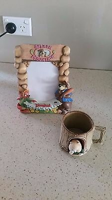 Gempo pottery cup and Disneyland splash mountain frame
