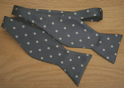 Vintage Grey & White Spotted Silk  Self Tie Bow Tie  Made In England Wedding
