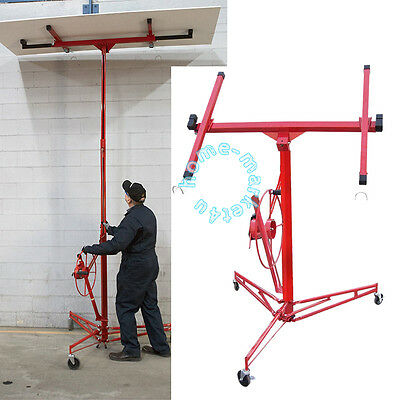 11FT Drywall Plaster Board Panel Sheet Hoist Lift Lifter Tool Caster Winch Crane