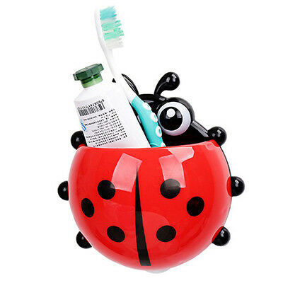 Kids Cartoon Ladybug Wall Mounted Suction Cup Toothbrush Toothpaste Holder Stand