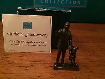 WDCC Partners Mini Bronze Statue - Walt Disney and Mickey Mouse New