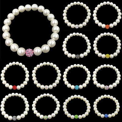 wholesale Woman White Round Real Cultured Freshwater Pearl Bracelet