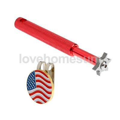 Portable Golf Club Groove Sharpener Cleaner with Golf Hat Clip Ball Marker