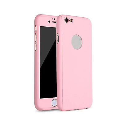 Hybrid 360° Ultra Thin Pink Case+Tempered Glass For iPhone 5/5s {py1