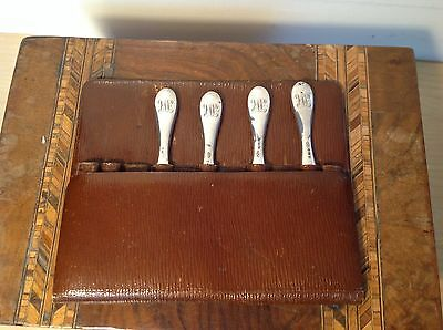 Mappin & Webb Sterling Silver Handled Manicure Set in Leather Pouch 4 Piece