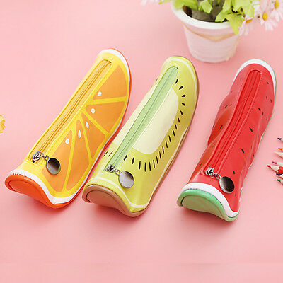 Fashion Fruit Style Cute School Pencil Case Leather Pencil Bag Kawaii Stationery